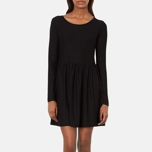 Topshop Long Sleeve Jersey Skater Dress - Black